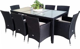Utemöbler i konstrotting - matgrupp med 8 stolar