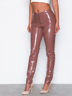 NLY One Vinyl Leggings Byxor Mörk Rosa