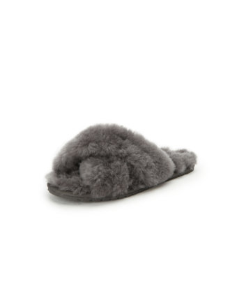 Lammskinnssandaler från Emu grå