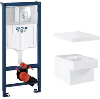 Komplet pakke m/Grohe Rapid SL cisterne, Skate Air trykknap & Grohe Cube hængeskål m/soft close sæde