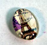 Bildcabochon av glas - Eiffeltorn med stämpel 13x1