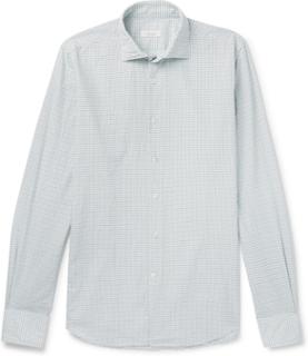 Slim-fit Grid-checked Cotton Shirt - Sky blue