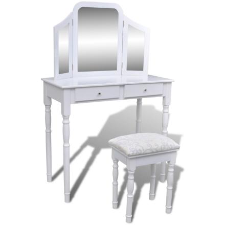 vidaXL Sminkbord med 3-i-1 spegel och pall 2 lådor vit