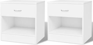 vidaXL Sängbord 2 st med låda vit