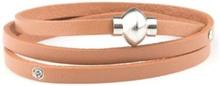 VÅGA smycken, läderarmband 3 varv, brun