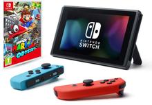 Nintendo Switch (Neon Blau und Neon Rot Joy‑Con) mit Super Mario Odyssey