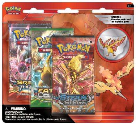 Pokemon - Moltres - Collectors Pin - 3 pack