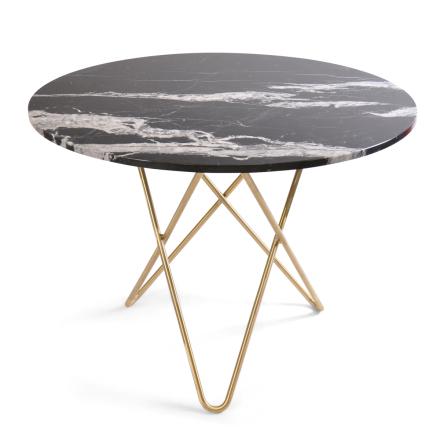 Dining O ruokapöytä Ø100 K72, messinkijaloilla musta marmori