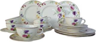 Kaffeservise -Fleurelle- i 18 deler Van Well Krem/flerfarget