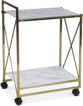 Serveringsvagn Paladium - Mässing / Vitt marmorglas