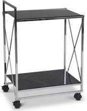 Serveringsvagn Paladium - Krom / Svart marmorglas