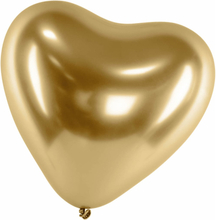 Ballonger Latex Hjärta Guld   Chrome   Reflex   Shiny   Mirror
