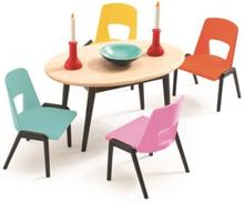 Kjøkkenbord med stoler, Dukkehus, Djeco