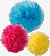 Pom poms rosa/gul/blå, 3 st
