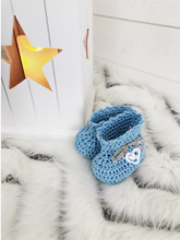 Virkade babyskor tossor, blå