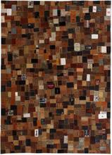 vidaXL Matta äkta läder lappade jeansetiketter 80x150 cm brun
