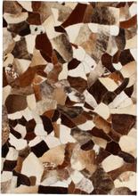vidaXL Matta äkta läder lappad slumpmässig 80x150 cm brun/vit