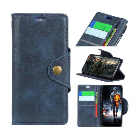 Huawei Honor 10 Lite beskyttelses deksel av syntetisk skinn - mørke blå