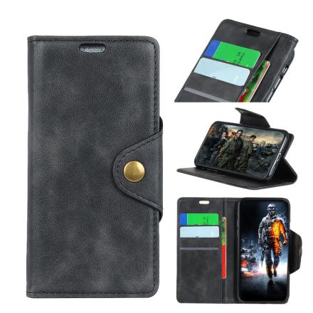 Huawei Honor 10 Lite beskyttelses deksel av syntetisk skinn - svart