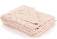 vidaXL Stickad filt bomull 130x171 cm pläddesign rosa