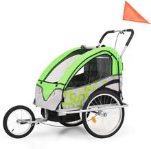 vidaXL 2-i-1 Barncykelvagn & gåvagn grön och grå