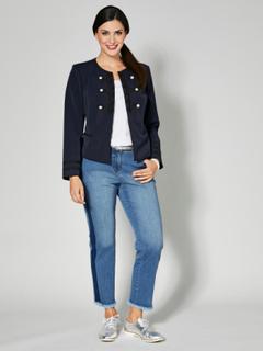 Slim fit-jeans med frynser i benkanten Sara Lindholm Blå