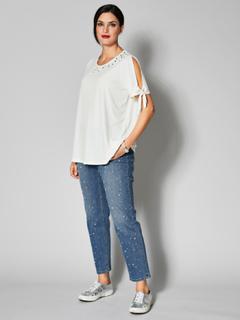 Slim fit-jeans med perler Sara Lindholm Blå