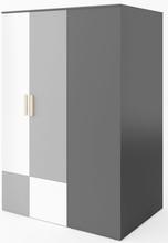 Jeffry garderob - Graphite/ljusgrå - Vänstervänd