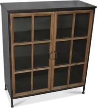 Industry vitrinskåp i metall (Lowboard) - Trä / Metall / Glas