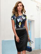 Jersey-Kleid überschnittener Schulter Laurèl mehrfarbig