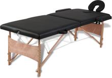 vidaXL Hopfällbar massagebänk med 2 sektioner träram svart