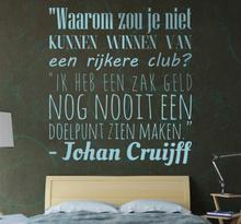Sticker Johan Cruijff winnen van een zak geld