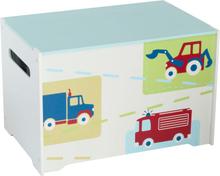 Worlds Apart Låda lastbilar & traktorer 60x39x39 cm vit WORL230009