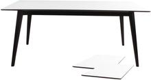 Hvidt spisebord 195/285 cm med 2 stk tillægsplader (Mindre ridser)