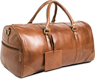 Weekendväska i läder - brun