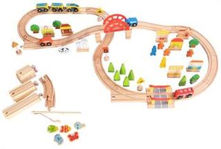 Stor Træ togbane - 81 dele - Med bro, biler og tog
