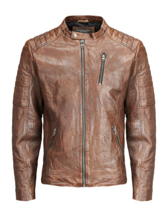 JACK & JONES Biker Leather Jacket Men Brown