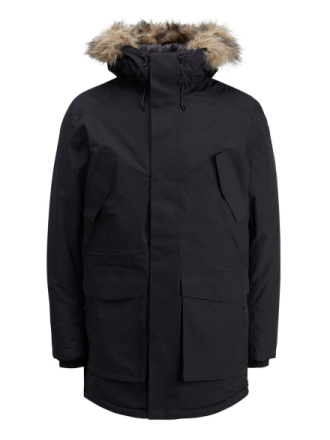 JACK & JONES Waterproof Parka Coat Men Black