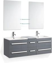Beliani Badrumsmöbler väggskåp 2 spegel 2 tvättställ och glashylla grå MADRID