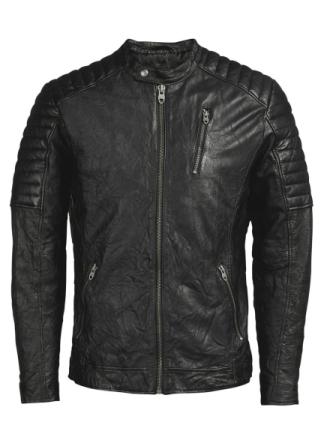 JACK & JONES Biker Leather Jacket Men Black