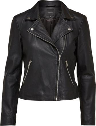 SELECTED Lamb - Leather Jacket Women Black