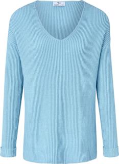 V-ringad tröja i 100% bomull från Peter Hahn blå