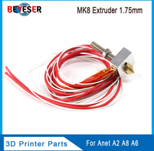 ANET A8/A6 MK7/MK8 Extruder Hotend Kit With M2 Wrench 3D Printer Heated Block+Throat+1.75mm/0.4mm Nozzle+Cartridge Heater Kit 2