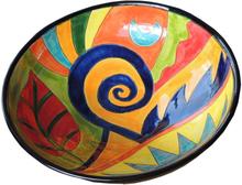 Handmålad keramik skål