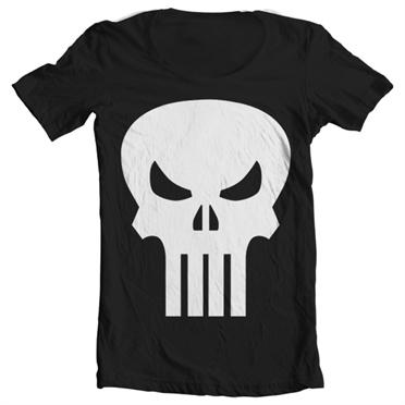 The Punisher Skull Wide Neck T-Shirt, Wide Neck T-Shirt