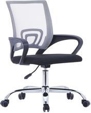 Kontorsstol med ryggstöd i nät grå tyg