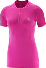 Salomon Lightning Pro Shortsleeve Zip Tee Women's Dame Kortermede treningstrøyer Rosa M