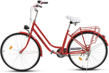 """Damcykel Classic 26"""" - Röd & vit"""