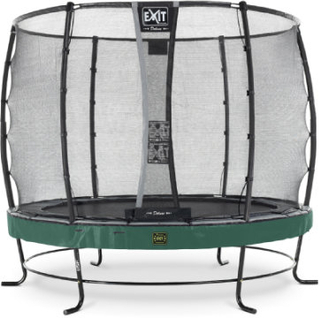 EXIT Inground-Trampolin Elegant Premium diameter 253cm med Deluxe sikkerhedsnet - grøn