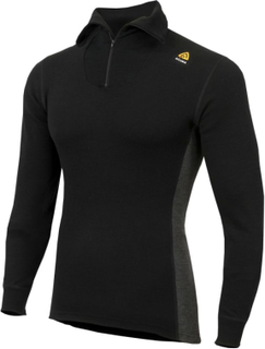 Aclima Men's Warmwool Polo With Zip Herre mellanlager tröjor Sort L